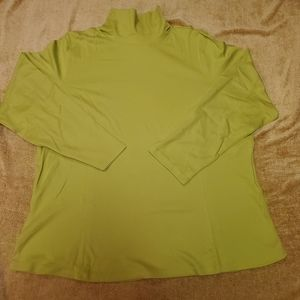 Coldwater Creek Lime Green 100% Cotton TNeck NWT